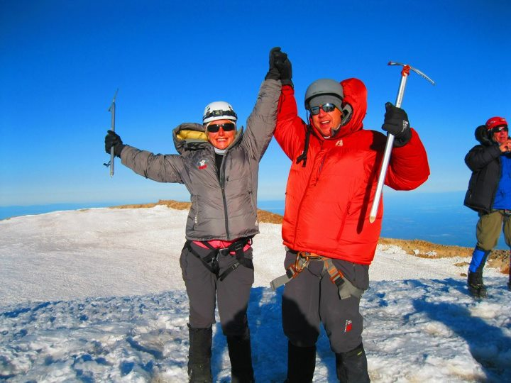 Daniel and Joe Decker reach the 14,410 summit of Mt. Rainier.