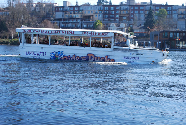 A sunny day on Lake Union aboard Ride the Ducks.