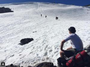 Climbing on Mount Adams in the Cascades mountain range. Photo: Kristin Gillespie