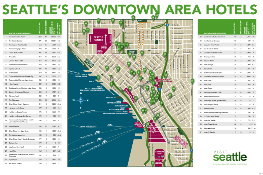 Maps & Logistics | Visit Seattle Downtown Seattle Hotels Map on
