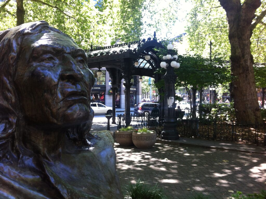Chief Seattle bust in Pioneer Square