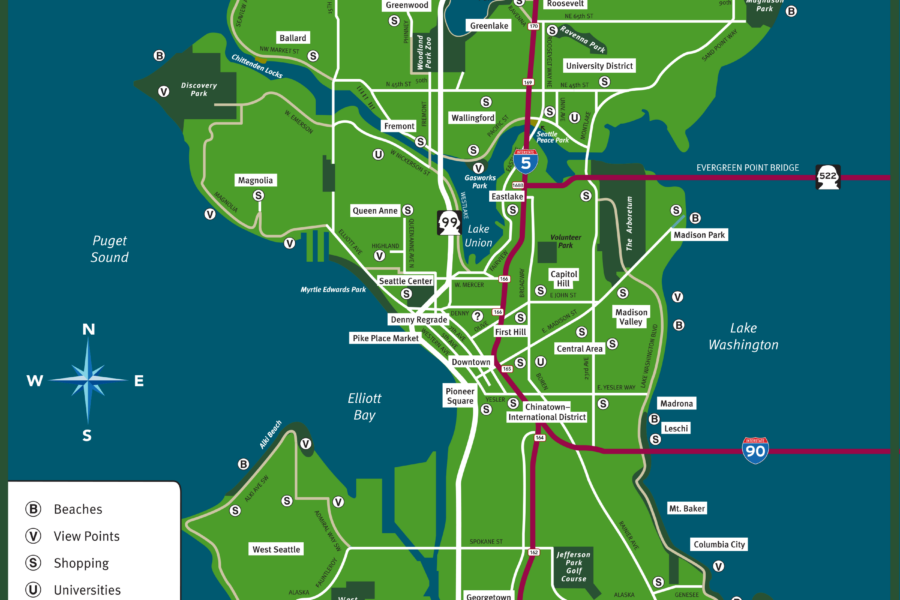 Visit Seattle Neighborhood Map
