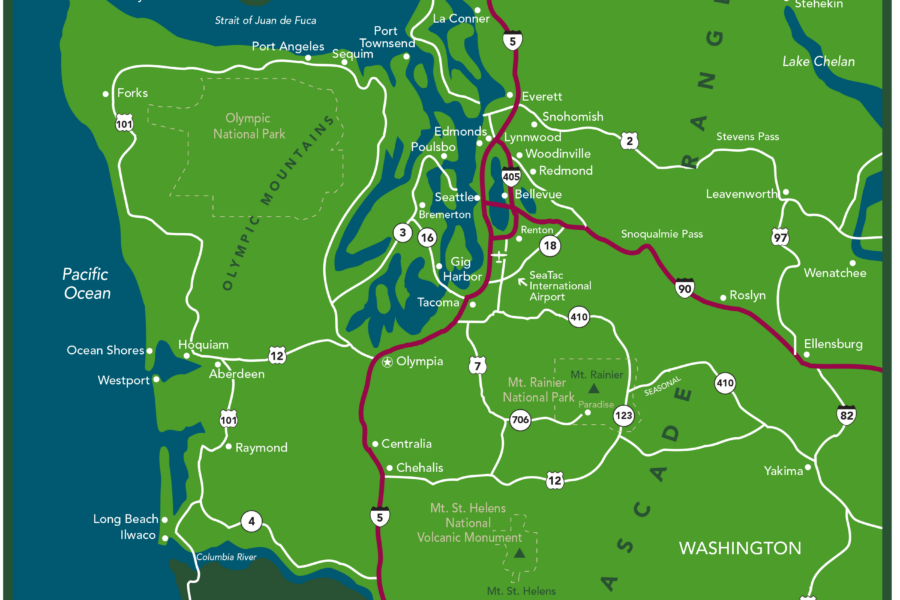 Visit Seattle Western Washington Map