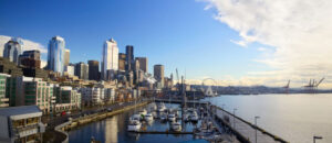 Seattle skyline, waterfront and Great Wheel across Bell Harbor Marina, WA, USA