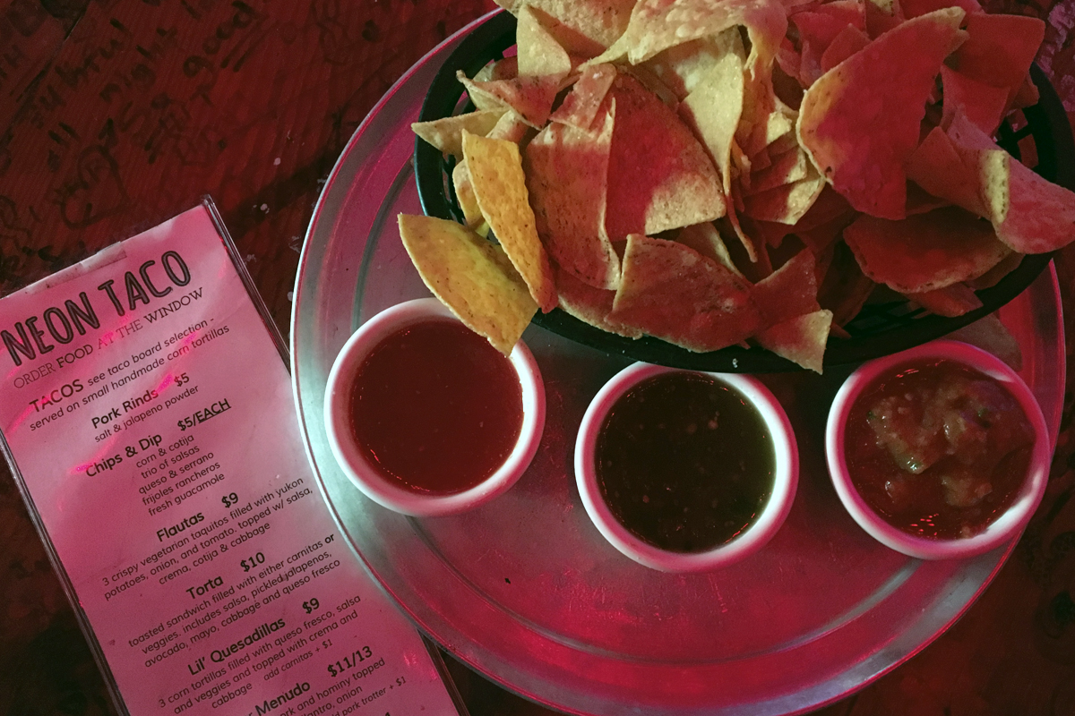 Super crunchy, nicely thick chips + a trio of salsas