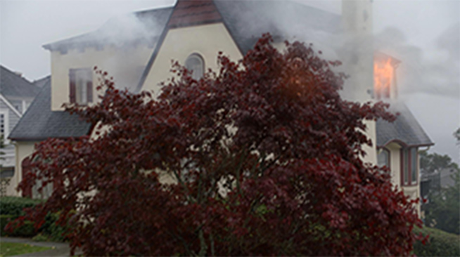 A tree with red leaves, behind which is a cottage house burning down. Smoke fills the air and flames glow in the side window.