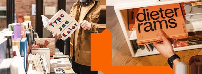 Interior images of design books at Peter Miller