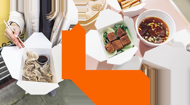 Dumplings & tofu in to-go boxes from Szechuan