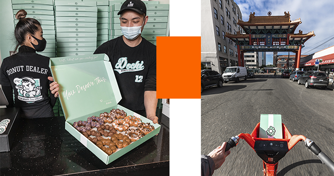 A masked man opening a box of Dochi Donuts and a person riding on a Jump bike.