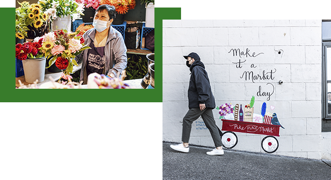 """A masked florist at Pike Place Market and a person posing with a wall mural that reads, """"Make it a Market day."""""""