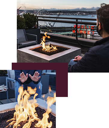 The fire pits on the roof of The Inn at the Market